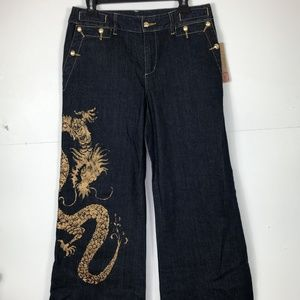 Ralph Lauren Gold dragon Jeans Size 8 (NWT)